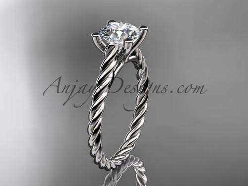 14kt white gold rope Moissanite engagement ring RP8116