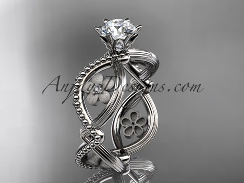 """14kt white gold diamond floral wedding ring, engagement ring with a """"Forever One"""" Moissanite center stone ADLR192"""