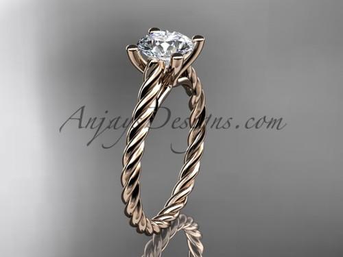 14kt rose gold rope Moissanite engagement ring RP8116