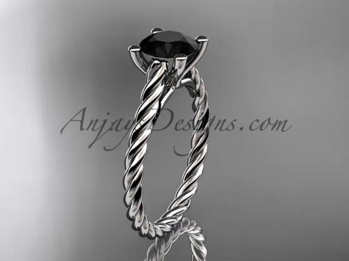 14kt white gold rope Black Diamond wedding ring RP8116