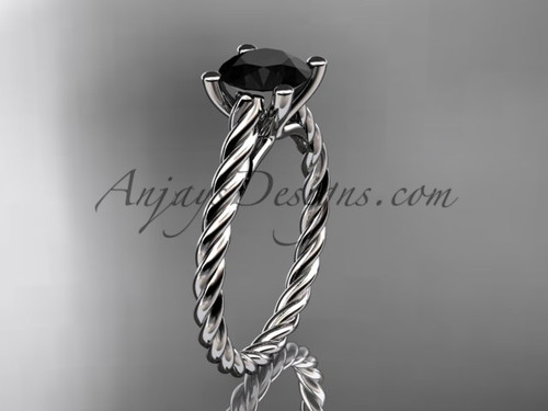 Platinum twisted rope wedding ring  with a Black Diamond center stone RP8116