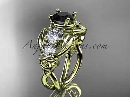 14kt Yellow Gold Welsh Black Diamond Engagement Ring CT769