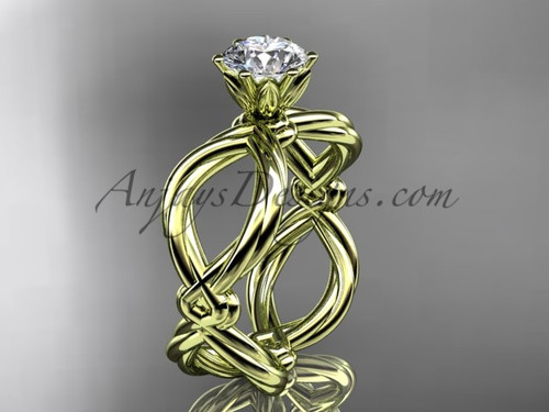 """14kt yellow gold twisted rope engagement ring with a """"Forever One"""" Moissanite center stone RP8192"""