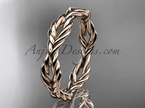 Rope Wedding Band, 14k Rose Gold Engagement Ring RP8117G