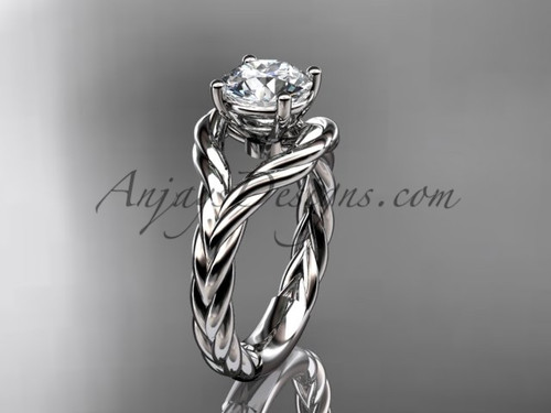 """Platinum """"Forever One"""" Moissanite twisted rope engagement ring RP8125"""