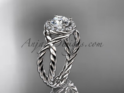 """14kt white gold rope halo diamond engagement ring with a """"Forever One"""" Moissanite center stone RP8127"""