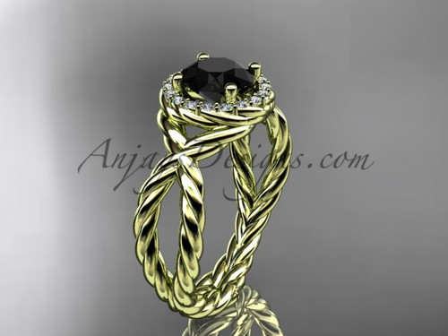 14kt yellow gold rope halo diamond engagement ring with a Black Diamond center stone RP8127
