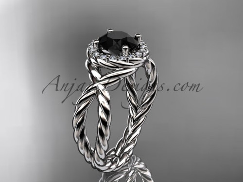 Platinum rope halo diamond engagement ring with a Black Diamond center stone RP8127