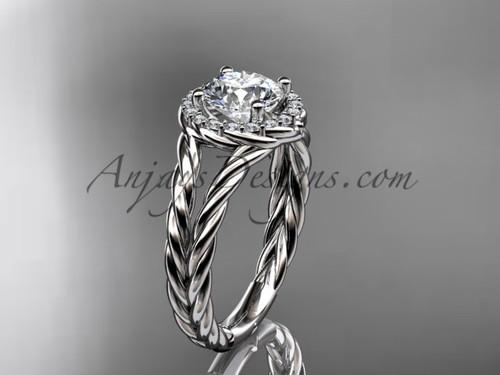 Platinum halo rope diamond engagement ring RP8131