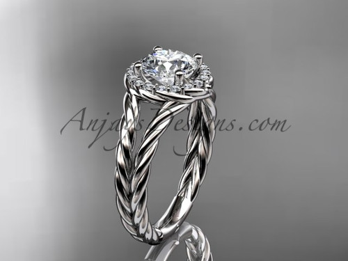 """14kt white gold rope halo diamond engagement ring with a """"Forever One"""" Moissanite center stone RP8131"""