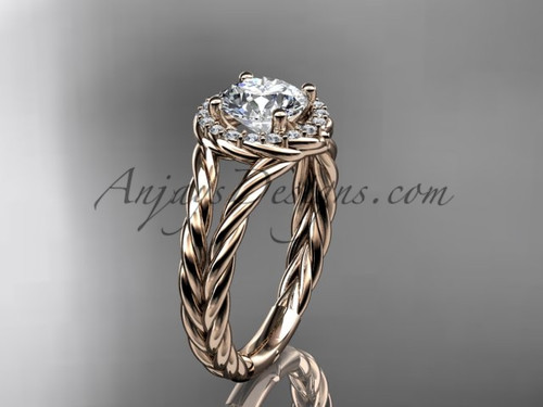 """14kt rose gold rope halo diamond engagement ring with a """"Forever One"""" Moissanite center stone RP8131"""