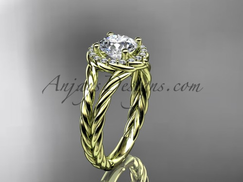 """14kt yellow gold rope halo diamond engagement ring with a """"Forever One"""" Moissanite center stone RP8131"""