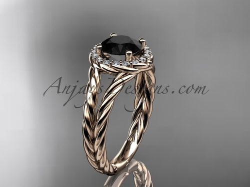 14kt rose gold rope halo diamond engagement ring with a Black Diamond center stone RP8131
