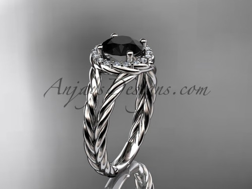 Platinum rope halo diamond engagement ring with a Black Diamond center stone RP8131