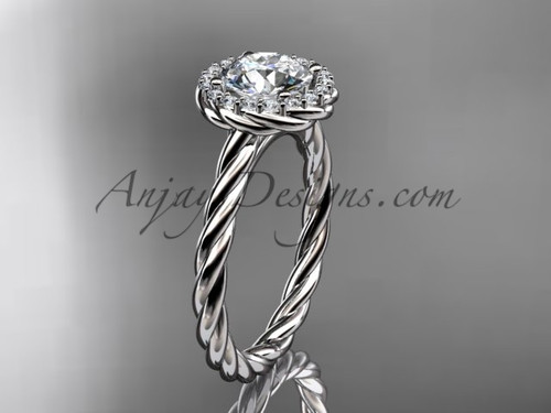 14kt white gold halo rope diamond engagement ring RP8197