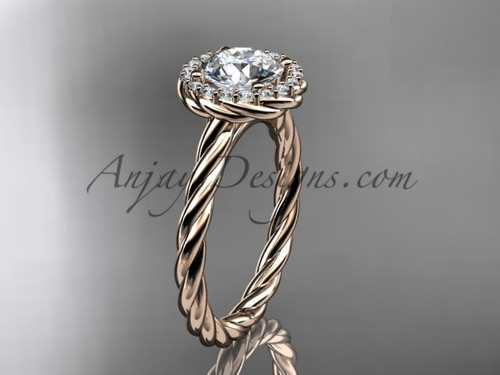14kt rose gold halo rope diamond engagement ring RP8197