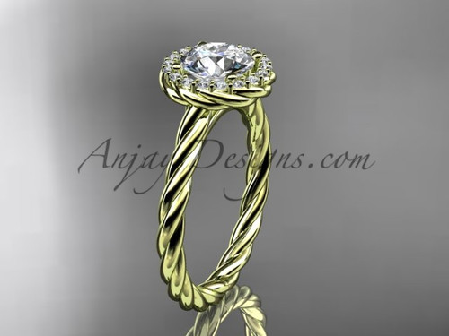 "14kt yellow gold ""Forever One"" Moissanite rope engagement ring RP8197"