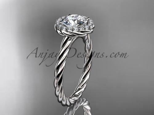 """Platinum """"Forever One"""" Moissanite rope engagement ring RP8197"""
