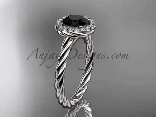 14kt white gold Black Diamond rope engagement ring RP8197