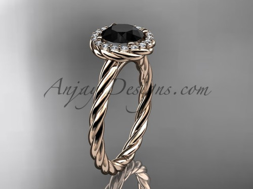 14kt rose gold Black Diamond rope engagement ring RP8197