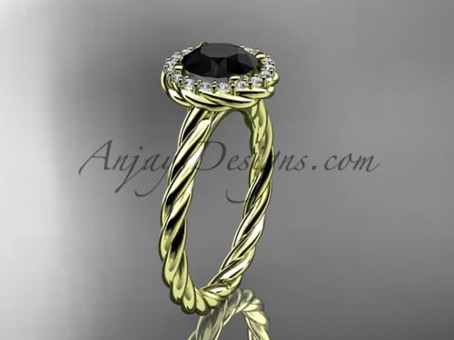 14kt yellow gold Black Diamond rope engagement ring RP8197