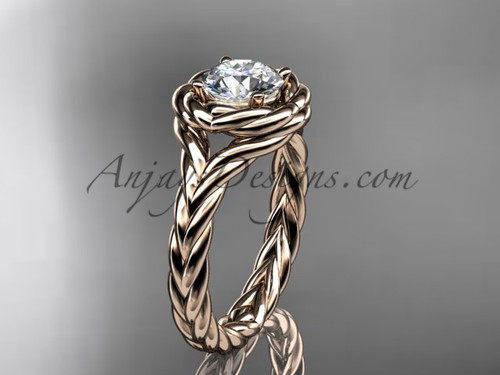 14kt rose gold twisted rope engagement ring RP8201