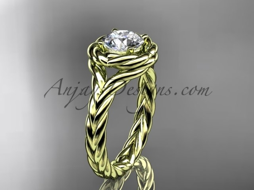 """14kt yellow gold twisted rope engagement ring with a """"Forever One"""" Moissanite center stone RP8201"""