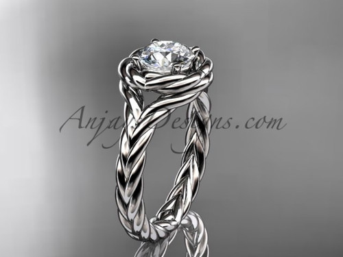 """Platinum twisted rope engagement ring with a """"Forever One"""" Moissanite center stone RP8201"""