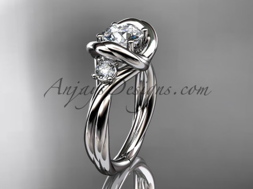 """14kt white gold twisted rope three stone engagement ring  with a """"Forever One"""" Moissanite RP8146"""
