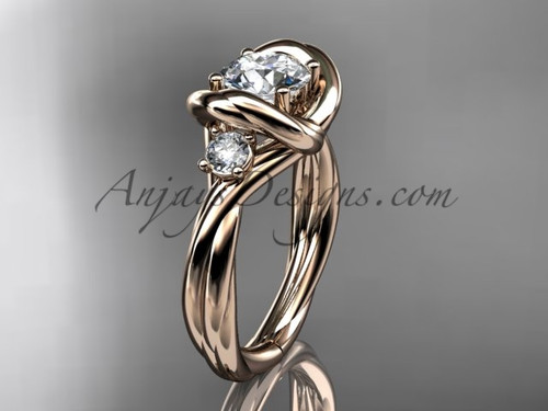 """14kt rose gold twisted rope three stone engagement ring  with a """"Forever One"""" Moissanite RP8146"""