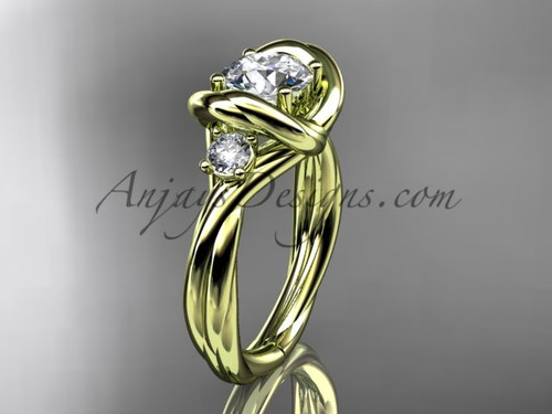 """14kt yellow gold twisted rope three stone engagement ring  with a """"Forever One"""" Moissanite RP8146"""