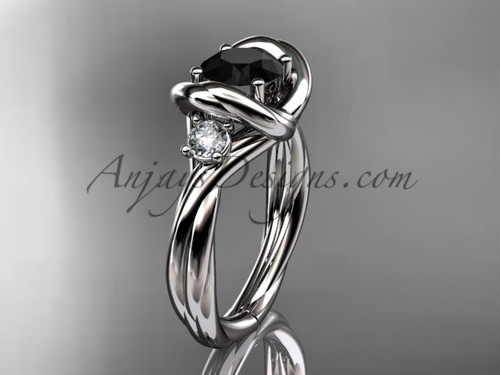 14kt white gold twisted rope three stone engagement ring  with a Black Diamond RP8146