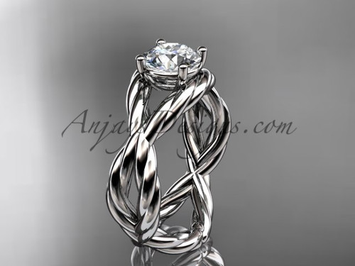 """14kt white gold  """"Forever One"""" Moissanite twisted rope engagement ring RP8181"""