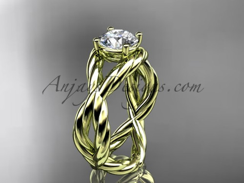 """14kt yellow gold  """"Forever One"""" Moissanite twisted rope engagement ring RP8181"""