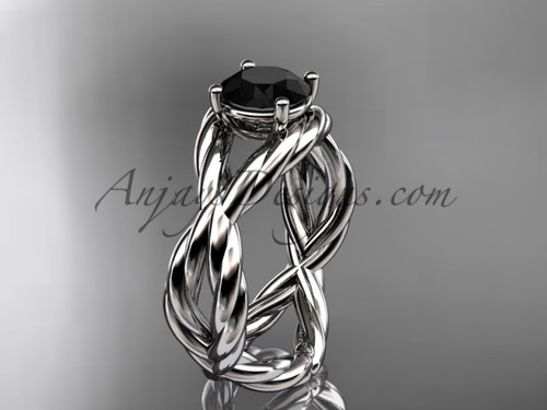 Black Diamond Ring, White Gold Twisted Style Ring RP8181