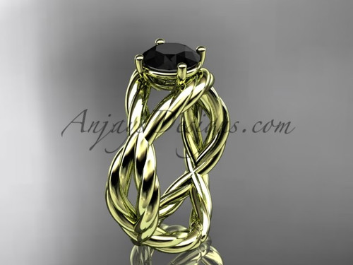 Black Diamond Ring, Yellow Gold Rope Bridal Ring RP8181