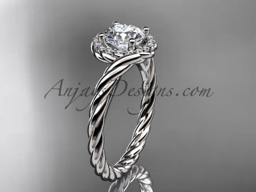 "14kt white gold ""Forever One"" Moissanite rope engagement ring RP8379"