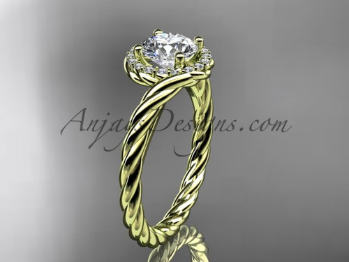 "14kt yellow gold ""Forever One"" Moissanite rope engagement ring RP8379"