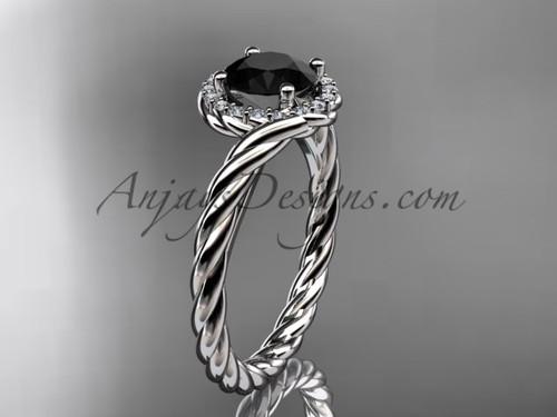 14kt white gold Black Diamond rope engagement ring RP8379