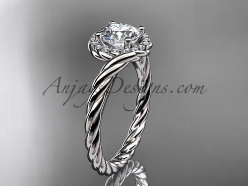 14kt white gold diamond rope engagement ring RP8379
