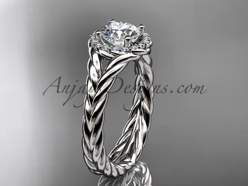 14kt white gold halo rope diamond engagement ring RP8380
