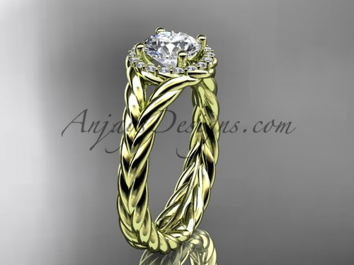14kt yellow gold halo rope diamond engagement ring RP8380