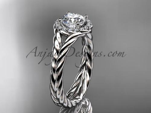 Platinum halo rope diamond engagement ring RP8380