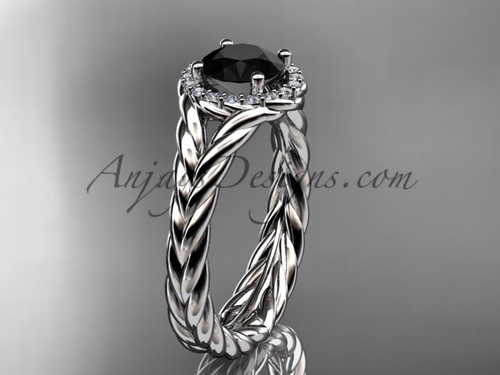 14kt white gold halo rope diamond engagement ring Black Diamond center stone RP8380