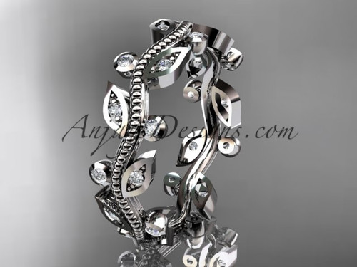 platinum diamond leaf and vine wedding ring,engagement ring,wedding band ADLR1B