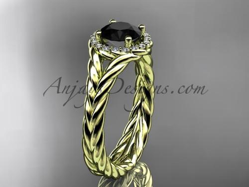 14kt yellow gold halo rope diamond engagement ring Black Diamond center stone RP8380