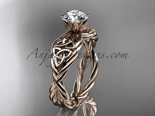 14kt rose gold moissanite celtic engagement ring RPCT970