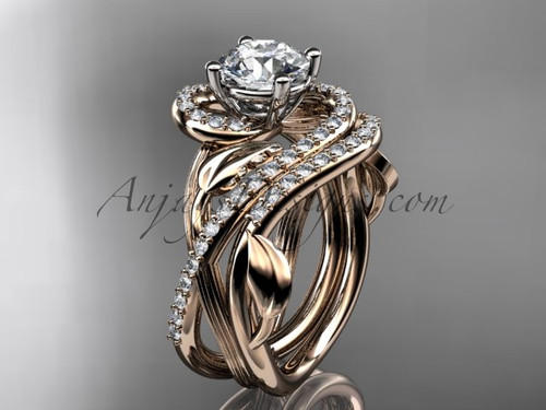"Unique 14kt rose gold diamond leaf and vine wedding set, engagement set with a ""Forever One"" Moissanite center stone ADLR222S"