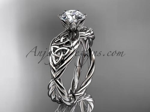 platinum moissanite celtic engagement ring RPCT970