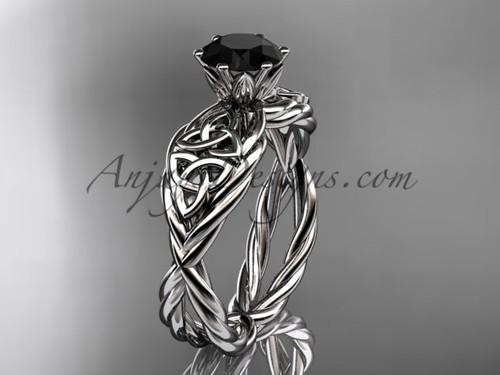 14kt white gold Black Diamond celtic wedding ring RPCT970